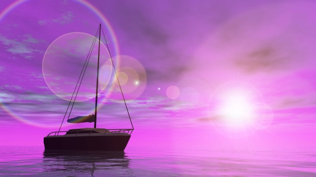 One sailing boat floating on the water by violet sunset - 3D render