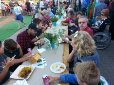 Long tables for community eating Harmony Day 2016